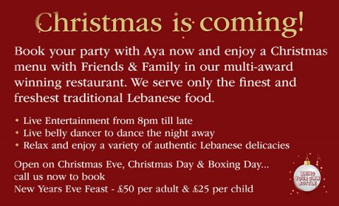 Book Your Christmas Party With Aya!